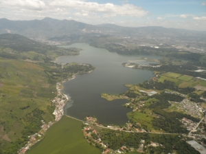 A bird`s eyeview of Lake Amatitlán