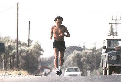 Runner and novelist Haruki Murakami shirtless and training
