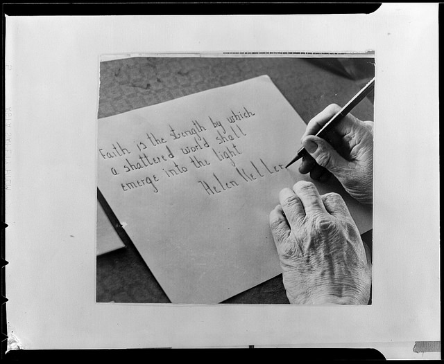 Helen Keller's hand writing Boston Public Library